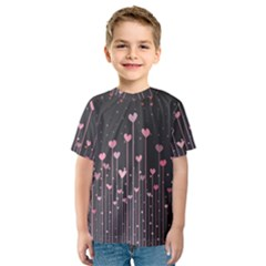 Pink Hearts On Black Background Kids  Sport Mesh Tee