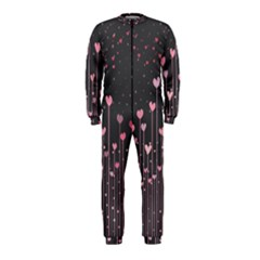 Pink Hearts On Black Background OnePiece Jumpsuit (Kids)