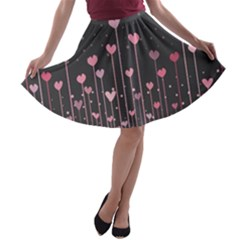 Pink Hearts On Black Background A-line Skater Skirt