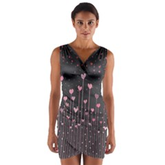 Pink Hearts On Black Background Wrap Front Bodycon Dress