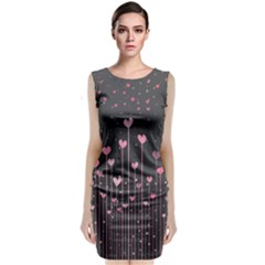 Pink Hearts On Black Background Classic Sleeveless Midi Dress