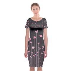 Pink Hearts On Black Background Classic Short Sleeve Midi Dress