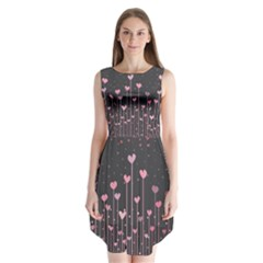 Pink Hearts On Black Background Sleeveless Chiffon Dress
