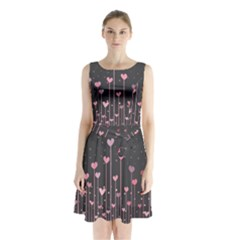 Pink Hearts On Black Background Sleeveless Chiffon Waist Tie Dress
