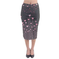 Pink Hearts On Black Background Midi Pencil Skirt