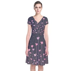 Pink Hearts On Black Background Short Sleeve Front Wrap Dress