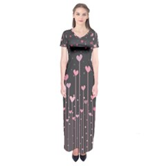 Pink Hearts On Black Background Short Sleeve Maxi Dress