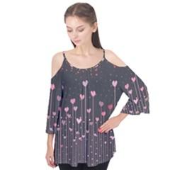 Pink Hearts On Black Background Flutter Tees