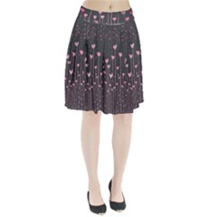Pink Hearts On Black Background Pleated Skirt