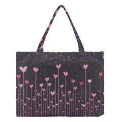 Pink Hearts On Black Background Medium Tote Bag