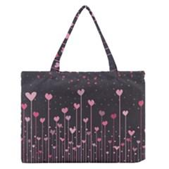 Pink Hearts On Black Background Medium Zipper Tote Bag