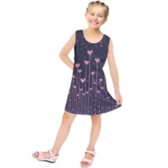 Pink Hearts On Black Background Kids  Tunic Dress