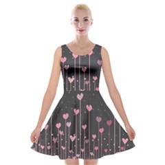 Pink Hearts On Black Background Velvet Skater Dress