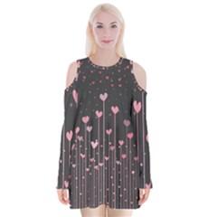 Pink Hearts On Black Background Velvet Long Sleeve Shoulder Cutout Dress