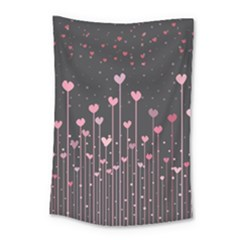 Pink Hearts On Black Background Small Tapestry