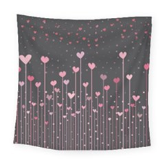 Pink Hearts On Black Background Square Tapestry (large)
