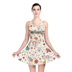 Spring Floral Pattern With Butterflies Reversible Skater Dress