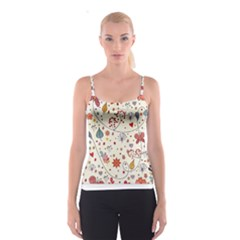 Spring Floral Pattern With Butterflies Spaghetti Strap Top
