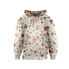 Spring Floral Pattern With Butterflies Kids  Pullover Hoodie