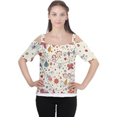 Spring Floral Pattern With Butterflies Women s Cutout Shoulder Tee