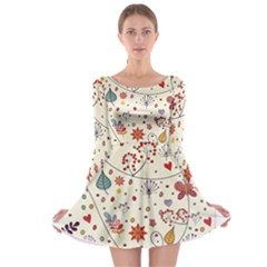 Spring Floral Pattern With Butterflies Long Sleeve Skater Dress