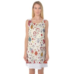 Spring Floral Pattern With Butterflies Sleeveless Satin Nightdress