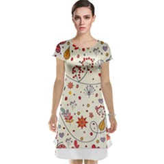 Spring Floral Pattern With Butterflies Cap Sleeve Nightdress