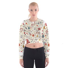 Spring Floral Pattern With Butterflies Women s Cropped Sweatshirt