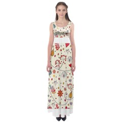 Spring Floral Pattern With Butterflies Empire Waist Maxi Dress