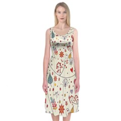 Spring Floral Pattern With Butterflies Midi Sleeveless Dress