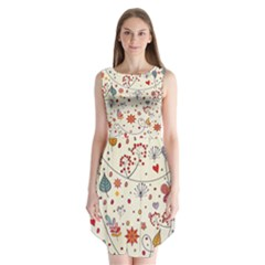 Spring Floral Pattern With Butterflies Sleeveless Chiffon Dress