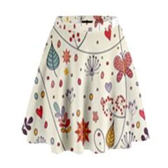 Spring Floral Pattern With Butterflies High Waist Skirt