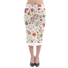 Spring Floral Pattern With Butterflies Midi Pencil Skirt