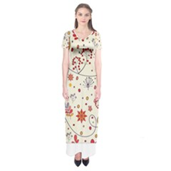 Spring Floral Pattern With Butterflies Short Sleeve Maxi Dress