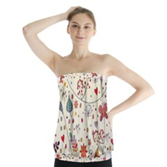 Spring Floral Pattern With Butterflies Strapless Top