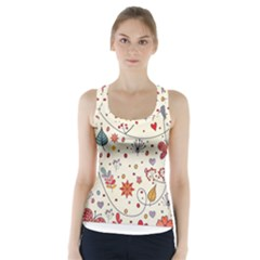 Spring Floral Pattern With Butterflies Racer Back Sports Top