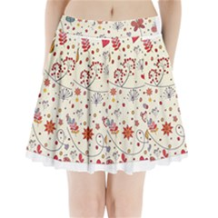 Spring Floral Pattern With Butterflies Pleated Mini Skirt