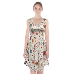 Spring Floral Pattern With Butterflies Racerback Midi Dress