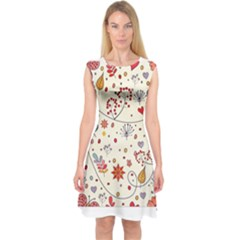 Spring Floral Pattern With Butterflies Capsleeve Midi Dress