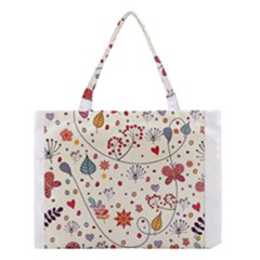Spring Floral Pattern With Butterflies Medium Tote Bag