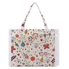 Spring Floral Pattern With Butterflies Medium Zipper Tote Bag