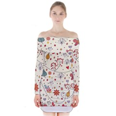 Spring Floral Pattern With Butterflies Long Sleeve Off Shoulder Dress