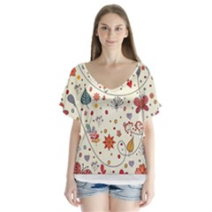 Spring Floral Pattern With Butterflies Flutter Sleeve Top