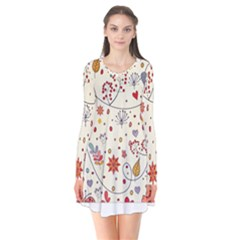 Spring Floral Pattern With Butterflies Flare Dress