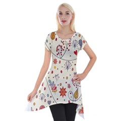 Spring Floral Pattern With Butterflies Short Sleeve Side Drop Tunic