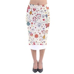 Spring Floral Pattern With Butterflies Velvet Midi Pencil Skirt