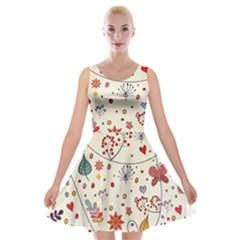 Spring Floral Pattern With Butterflies Velvet Skater Dress