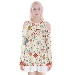 Spring Floral Pattern With Butterflies Velvet Long Sleeve Shoulder Cutout Dress