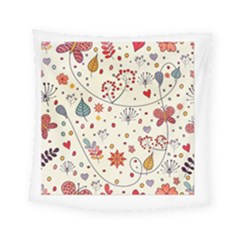 Spring Floral Pattern With Butterflies Square Tapestry (small)
