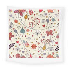 Spring Floral Pattern With Butterflies Square Tapestry (large)